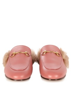 GUCCI Princetown fur-lined loafers http://www.matchesfashion.com/products/Gucci-Princetown-fur-lined-leather-backless-loafers-1053291